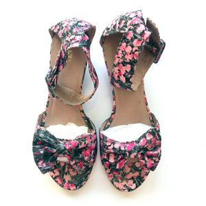 Valentino Floral Bow Ankle Strap Wedge Sandals